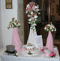 display of wedding flowers etc