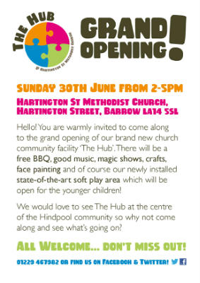 Flyer advertising Grand Opening of The Hub at Hartington Street, Barrow