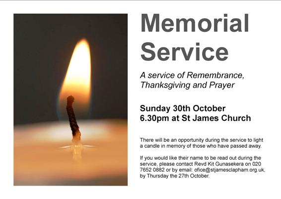 Memorial Service 30th Oct at 6.30pm