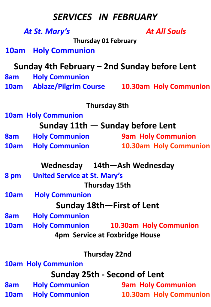 Services in Feb