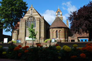 Church with flowers