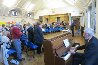 Sunday Service in the hall