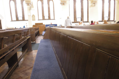 The last day of pews at Allerton URC
