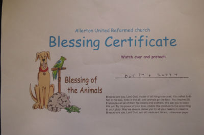 A certificate of blessing