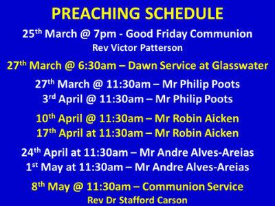 preaching schedule
