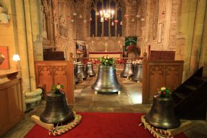 With the two new bells in the foreground and the recast tenor in the middle, the full peal is truly impressive