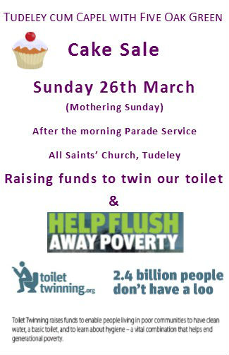 Advert for Cake Sale 26th March for toilet twinning