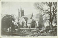Black and white postcard of church