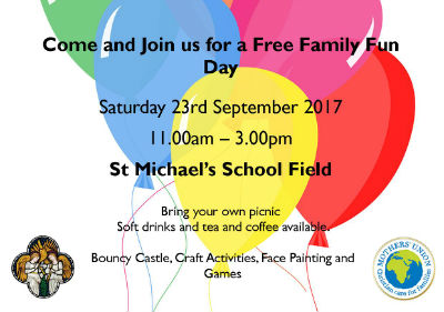Free family fun day Saturday 23rd September 11am - 3pm at St Michaels School Field.  Bring your own picnic