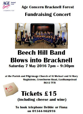 Beech Hill Band Blows into Bracknell at St Michael  St Mary Magdalene, Easthampstead 7th May 7pm 15 including cheese and wine