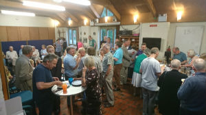 The audience enjoying refreshments during the interval
