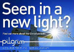 Cross on blue background - Seen in a new light? Find out more about the Christian faith pilgrim course