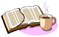 Book and mug of steaming drink on a pink circle