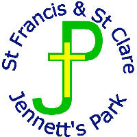 Dark blue St Francis  St Clare Jennetts Park surrounding a green JP with a yellow cross in the middle