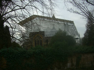 Temporary roof over the church