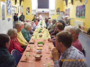 Members of the congregation enjoying their Harvest lunch 2014