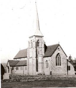 The original church building before the extension was added - note that the bell tower was outside