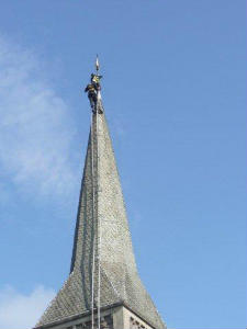 Pictures of the spire being repaired in May 2013