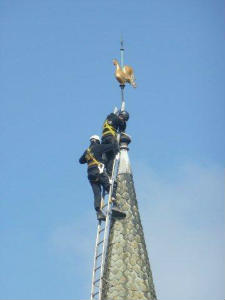 Pictures of the spire being repaired May 2013