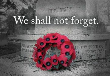 Poppy wreath on a memorial