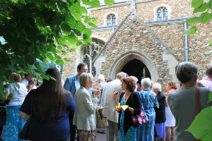 People outside Eltisley Church