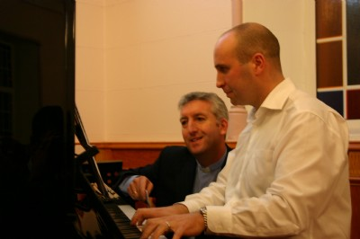 Rev Jones in discussion with pianist David Darragh