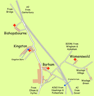 Map of Barham Downs Churches