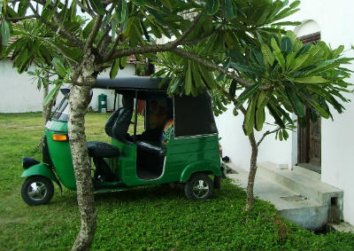 Tuk Tuk Rickshaw Bajaj at a holiday resort. Consider ethical tourism when booking a holiday in Sri Lanka.