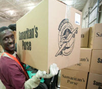 operation christmas child boxes in warehouse boxes