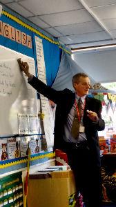 Stewart visiting a local school