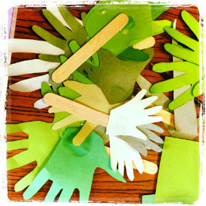 coloured paper hands craft activity