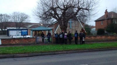 Hot Choc Giveaway outside Toton Methodist Church