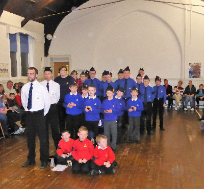 The Compnay at their annual Parents' Evening and Inspection 2017.  Inspecting Officer was Father Roddy McCaulay and he spent time with the boys and presented awards and medals