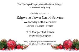 Edgware Town Carol Invitation