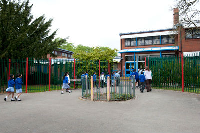 school entrance from the Park