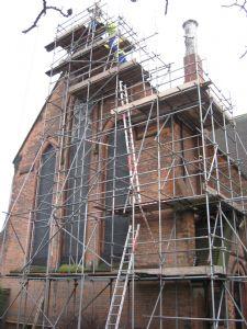 Sparkhill St John's Scaffolding starts to go up