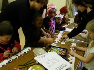 Age 3-6 Sunday school group doing craft