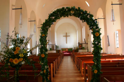 Flower Wedding arch in Church