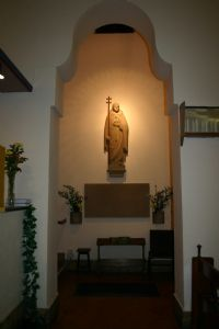 Chancel view of St Alban statue