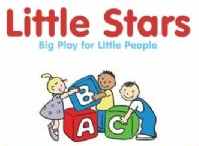 The little stars logo - three children playing with A B C building blocks