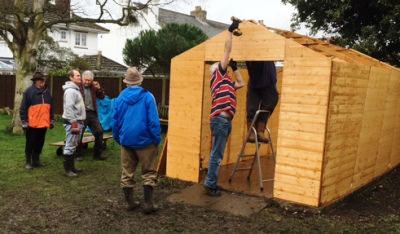 Constructing the new shed.