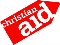 label with christian aid in type