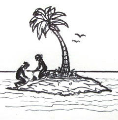 two people helping each other on a desert island