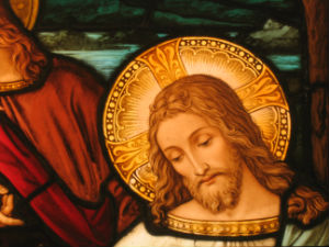 Jesus in stained glass window