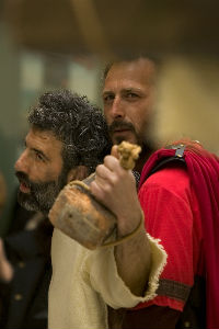 Jesus and a Roman guard