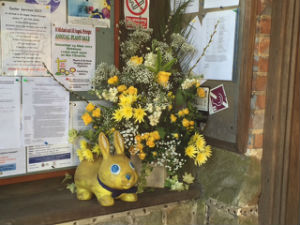 Flowers and Yellow Rabbit Easter 2017