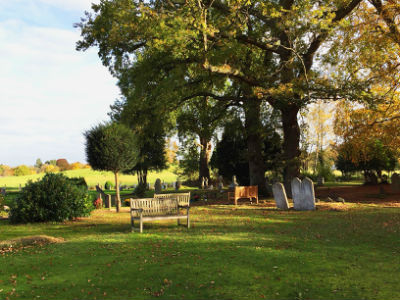 Bench in the churchyard, October