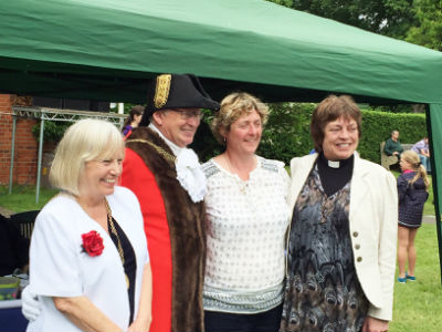 Mayor, Lady Mayoress, Scarecrow Organiser in Chief, and our Priest