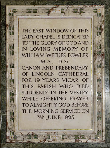 Canon Fowler memorial plaque