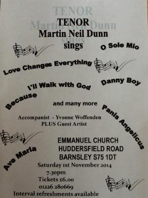 Martin Neil Dunn concert - ring 01226 280669 for tickets